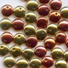 30 beads, 6mm Lentil, Jet California Gold Rush No. 23980 98542, Czech Glass Beads