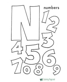 ABC Coloring Sheet, Letter N is for Numbers - letter crafts preschool alphabet Letter N Activities, Letter N Crafts, Alphabet Crafts, Number Activities, Numbers Preschool, Preschool Letters, Learning Numbers, Preschool Ideas, Preschool Projects