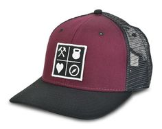 """The QALO Maroon """"Grid Mesh Hat"""" has a cotton bill, polyester mesh back crown and snapback fit to provide the comfort and flex necessary to take on life's greatest adventures. At QALO, we are in pursui"""