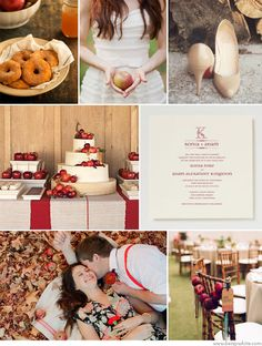 fall wedding with warm donuts, and apple cider
