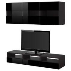 BESTÅ TV tár komb - fekete-barna bambuszmintás/magasfényű/barna - IKEA