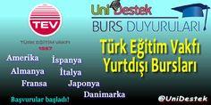 Türk Eğitim Vakfı 2015-2016 Yurt Dışı Yüksek Lisans Burs başvuruları başlamıştır.   http://unidestek.net/turk-egitim-vakfi-2015-2016-yurt-disi-yuksek-lisans-burs-basvurulari/