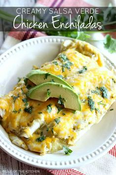 This Salsa Verde Chicken Enchiladas recipe is made with a creamy and delicious filling, and smothered with cheese. Kick any Mexican food craving with some easy green chili chicken enchiladas for a family dinner tonight! Chicken Enchiladas Verde, Chicken Verde, Cheese Enchiladas, Mexican Chicken, Mexican Cheese, Buffalo Chicken, Bbq Pitmasters, Mexican Food Recipes, Dinner Recipes