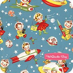 UMM. I need to buy this and need to make something for emi STAT. Obsessed!!  Michael Miller Retro Rocket Rascals Yardage SKU# CX1253-MULT-D