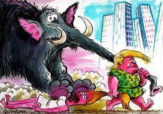 BULGARIA: Un troglodita Trump tira de la trompa de un elefante (el símbolo de los republicanos).