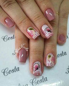 69 fotos de unhas francesinhas unhas decoradas com adesivos, unhas rosa decoradas, unhas decoradas Pretty Toe Nails, Cute Nails, Beautiful Nail Designs, Beautiful Nail Art, Acrylic Nail Designs, Nail Art Designs, Nail Deco, Gel Nails, Acrylic Nails