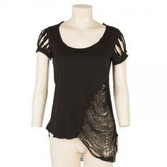 'Rags Rock' T-shirt Black by Maria Patelis Rock T Shirts, T Shirts For Women, Crop Tops, Tees, Fashion Design, Black, T Shirts, Black People, Teas
