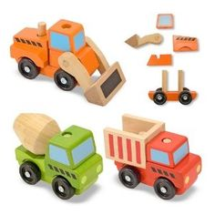 Little Dude got a set of wooden puzzle trucks like this Melissa & Doug Stacking Construction Vehicles set from one of daddy's cousins.  Little Dude loves pushing them around and taking them apart, but still has not figured out how to put them together (not that I blame him, it is shockingly tricky!).