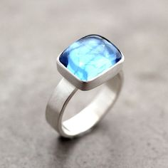 Swiss Blue Topaz Ring, Aqua Blue Recycled Argentium Sterling Silver Ring Blue Topaz Jewelry December Birthstone - Made to Order