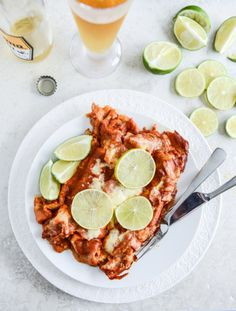 Spicy Beer Braised Lime Chicken Enchiladas I howsweeteats.com