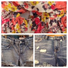 floral top & free people cut-off shorts in 2 styles for spring break !