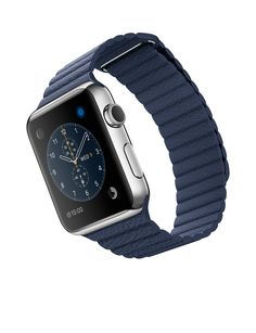 Apple Watch - 42mm Stainless Steel Case with Midnight Blue Leather Loop - Apple (UK)