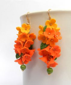 #Flower earrings  #Ombre earrings  Orange yellow  by #insoujewelry