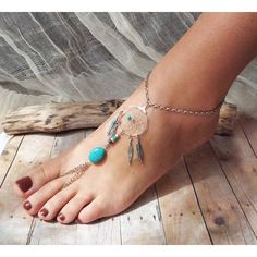 Peace Catcher Bohemian Silver Turquoise Dreamcatcher Slave Anklet... (125 BRL) ❤ liked on Polyvore featuring jewelry, shoes, anklets, bracelets, accessories, native american silver jewelry, indian turquoise jewelry, silver jewellery, boho jewelry and native american indian jewelry