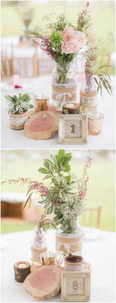 Rustic wedding décor, flower centerpieces, burlap & lace, pink, vintage frames // PSJ Photography