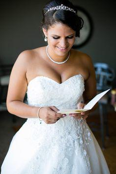 Bride reading letter  Tacoma Wedding Photography