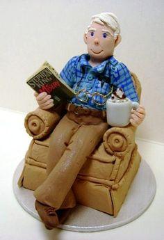 Grandpa in Chair Fondant Figures Tutorial, Fondant Toppers, Fondant Cakes, Cupcake Cakes, Rodjendanske Torte, Fondant People, 70th Birthday Cake, Dad Cake, Gingerbread Decorations
