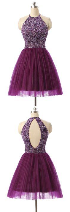 short party dresses, cute purple prom dresses, elegant halter open back homecoming dresses, cheap dresses