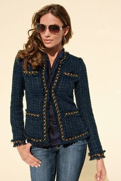 Parisian jacket-love it in navy OWN IT-Very Nice! Chanel Tweed Jacket, Chanel Style Jacket, Dress Outfits, Fashion Outfits, Womens Fashion, Mode Chanel, Unique Clothes For Women, Casual Work Outfits, Chanel Fashion
