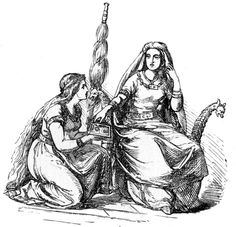 Frigg reaches into a box presented to her by a handmaid, Ludwig Pietsch, 1865