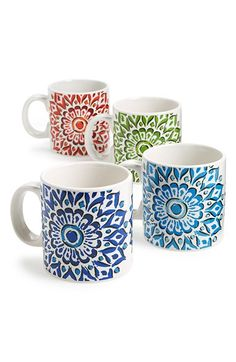 SIGNATURE HOUSEWARES 'Mandala' Mugs (Set of 4) available at #Nordstrom