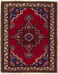 Bakhtiar Hand-Knotted Red Area Rug