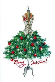 J. Peterman Holiday catalog 2014 Merry Christmas dress form illustration