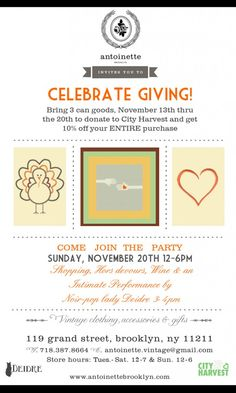 Join Antoinette's canned food drive and Thanksgiving Party! #freewilliamsburg #antoinettevintage #vintage #shop #press #shoutout #brooklyn #thanksgiving #cityharvest #community #donation #deidre #savoiradore #party