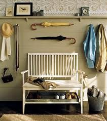 I like how everyday accessories are hung on the wall as art.  Attractive and functional.