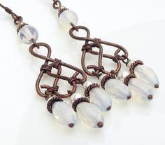 Long white chandelier earrings Copper Jewelry Wire wrap earrings Copper earrings.