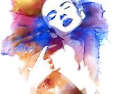 Watercolor Mixed Media Fashion Illustration Fine by EstherBayer