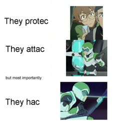 I love how basically the entire fandom uses they/them pronouns for pidge (and how everyone shares the head canon that they are nonbinary, for no reason at all)
