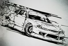 nissan silvia s15 drift car illustration