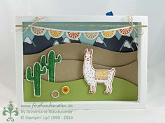 handmade card from First Hand Emotion ... Fiesta ... scene with hills and mountains (Andes?) ... llama and cacti with a bunting of papel picado ....