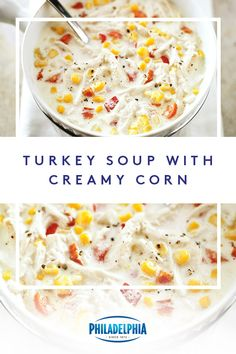 Wondering what to do with those turkey leftovers? Heres an idea turn it into Turkey Soup with Creamy Corn. Chop up some red pepper and onions add some PHILADELPHIA Cream Cheese and corn and create a perfect post-Thanksgiving meal. Thanksgiving Leftover Recipes, Leftover Turkey Recipes, Thanksgiving Meal, Leftovers Recipes, Fall Recipes, Holiday Recipes, Soup Recipes, Cooking Recipes, Creamy Turkey Soup