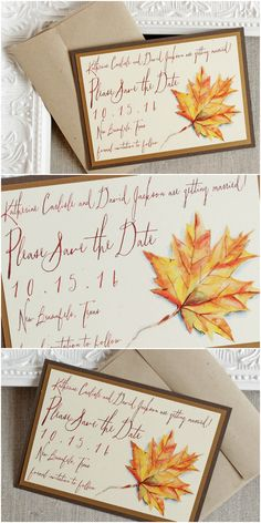 Autumn Foliage Wedding Save the Date | Sunshine and Ravioli