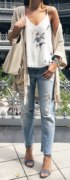 #summer #outfits White Floral Tank + Beige Cardigan + Ripped Denim Jeans + Grey Sandals