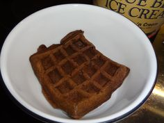 Devil's Food Cake Waffle.    Prepare batter according to the directions on the box    Heat Belgian Waffle Iron spray with cooking spray    Cook until lightly crisp on the outside    Top with ice cream, berries or other favorite toppings    Store unused waffles in the freezer. When ready to use, heat in toaster for a nice crispy crust, soft and steamy inside.
