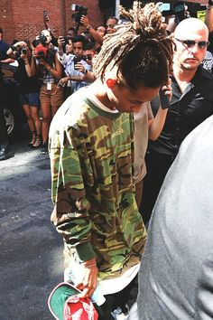 - Jaden Smith arriving at Kanye West's fashion show in NYC. Shows In Nyc, Jaden Smith, Fresh Prince, Kanye West, I Love Him, Military Jacket, Fashion Show, Menswear, Jackets