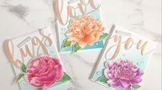 Hello everyone, Effie here! Today I have a video on how I watercolored our Large Peony 2 with colorburst powders. I started off by rose gold heat embossing our Large Peony 2 and leaves on watercolo… Watercolor Cards, Watercolor Peony, The Ton Stamps, Peony Painting, Altenew Cards, Love Hug, Birthday Greeting Cards, Flower Cards, Making Ideas