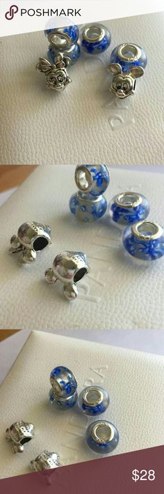 2 Pandora charms and 6 murano glass bead Total 6 charms  two Pandora Disney Minnie and Mickey mouse charms and 4 murano glass bead  Comes without box Pandora Jewelry Bracelets