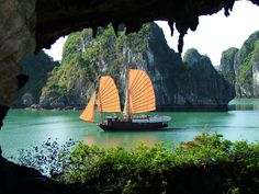 Ha Long Bay, Vietnam.  One of my best trips, highly recommend it!