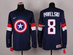 NHL #8 pavelski blue Captain America Fashion Jerseys