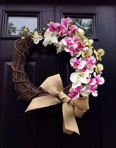 Summer Orchid Wreath- Tropical Wreath- Grapevine Wreath- Wreath- Housewares on Etsy, $50.00