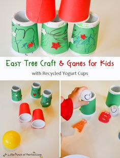A Little Pinch of Perfect: Easy Tree Craft & Games for Kids with Recycled Yogurt Cups