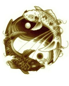 Koi fish ying and yang tattoo