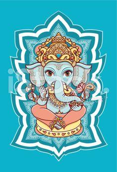elephant Hindu-Gott Lord Ganesha. Hinduismus. lizenzfreie Stock-Vektorgrafik