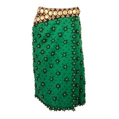 Adolfo Green Felt Pleated Skirt w/ Gold Tone Coin & Stud Detail