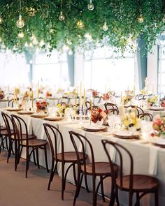 Colorful and modern wedding reception with greenery canopy by Sarah Winward. Reception Table, Reception Decorations, Wedding Reception, Event Decor, Reception Ideas, Wedding Centerpieces, Wedding Venues, Best Wedding Planner, Wedding Planners