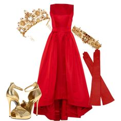 BRIDE IN RED AND GOLD by mariarca-varlese on Polyvore featuring moda, Katie Ermilio, Giuseppe Zanotti and Dolce&Gabbana